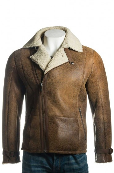 Men's Shearling Sheepskin Biker Style Jacket