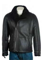 Men's Black Shearling Sheepskin Biker Jacket