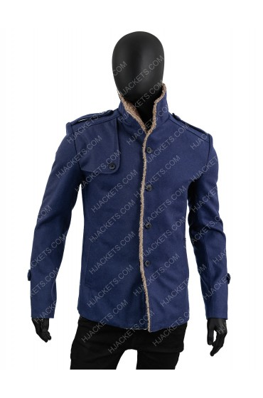 Mens Single Breasted Blue Wool Jacket