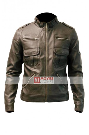 Slim Fitted Men's Stylish Luxury Brown Leather Jacket