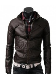 Men's Slim Fit Strap Buckle Collar Dark Brown Leather Jacket