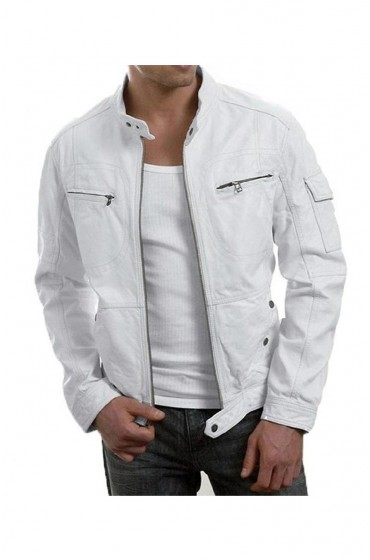 Slim Fit White Biker Cafe Racer Jacket
