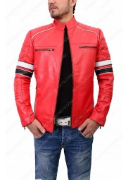 Mens Striped Cafe Racer Red Jacket