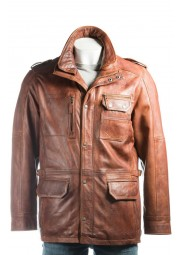 Mens Tan Double Collared Leather Coat