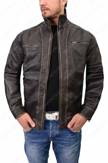 Mens Vintage Dark Brown Biker Jacket