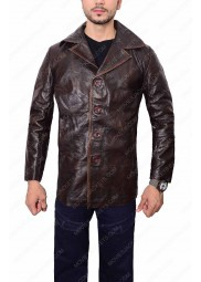 Mens Waxed Brown Leather Jacket