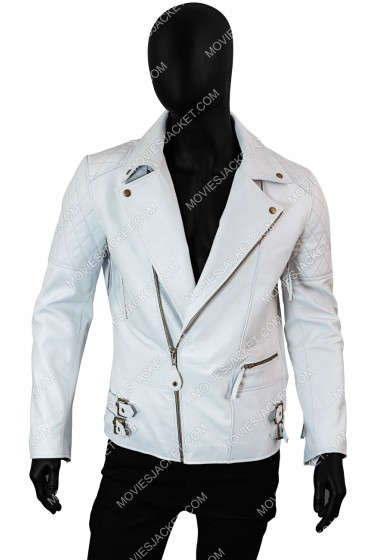 White Leather Asymmetrical Biker Jacket For Men