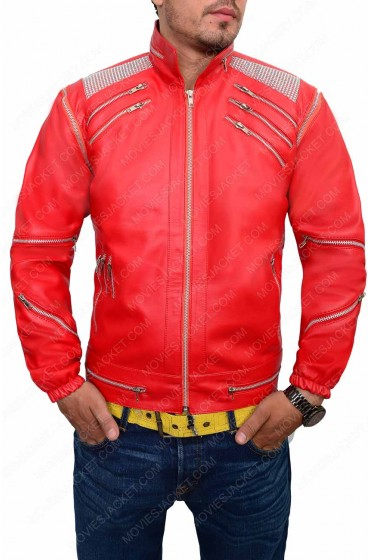 Michael Jackson Red Beat It Leather Jacket