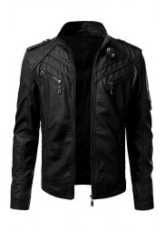 Mens Moto Biker Leather Jacket