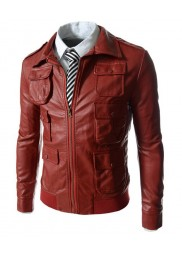 Multi Flap Pockets Men's Red Faux Leather Jacket