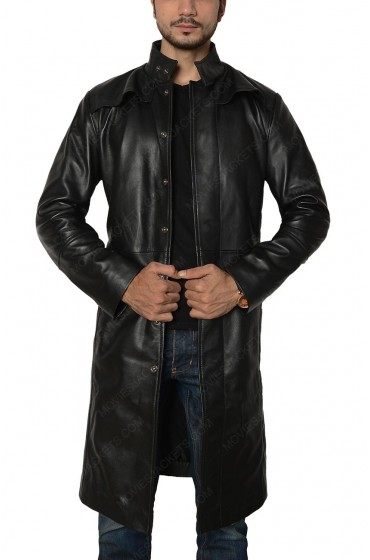 Neo Matrix Leather Trench Coat
