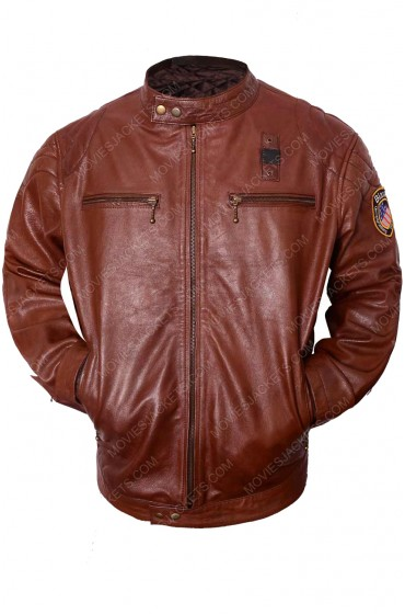 Nicholas Hoult Mens Brown Leather Biker Jacket