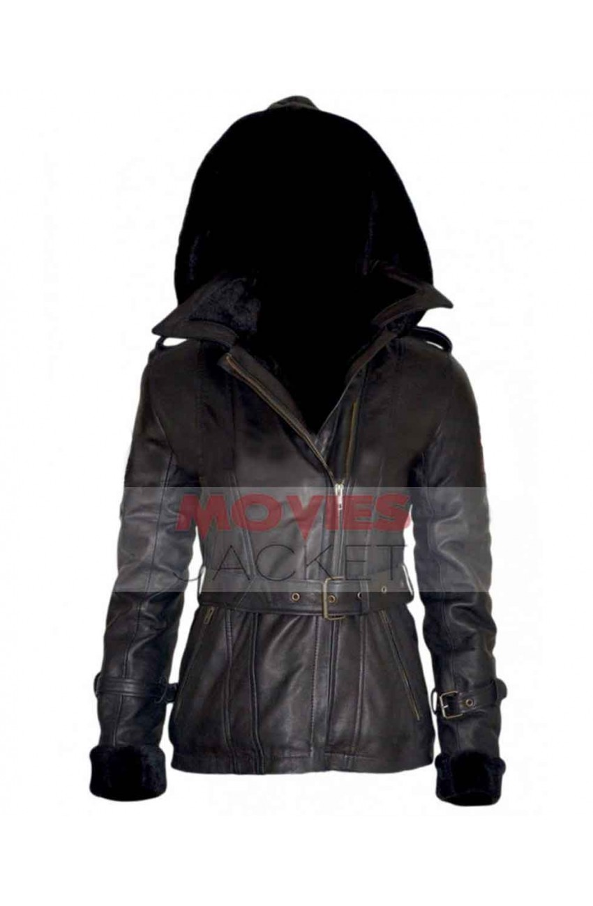 Leather jacket hoodie - Once Upon A Time Emma Swan Black Leather Jacket Hoodie