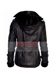 Once Upon a Time Emma Swan Black Leather Jacket Hoodie