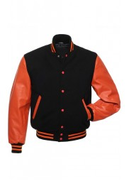 Men's Casual Wear Orange and Black Varsity Jacket
