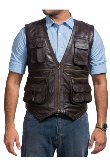 Owen Jurassic World Movie Chris Pratt Leather Vest