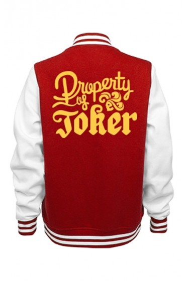 Women's Red and White Property of Joker Varsity Jacket