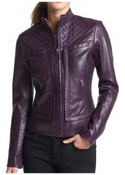 Women's Biker Style Purple Faux Leather Jacket