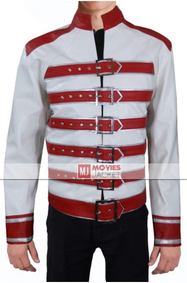 Freddie Mercury White Leather Jacket with Red Belts