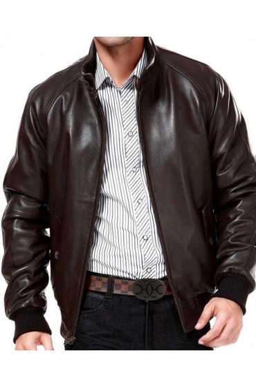 Raglan Sleeve Mens Leather Bomber Jacket
