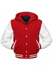 Men's Red and White Varsity Hoodie