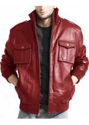 Lambskin Red Leather Bomber Jacket for Men