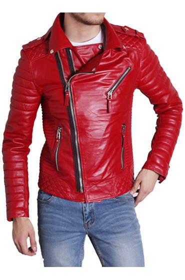 Men's Padded Sleeve Red Leather Motorcycle Jacket