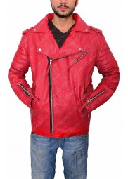 Men's Motorcycle Red Leather Padded Jacket