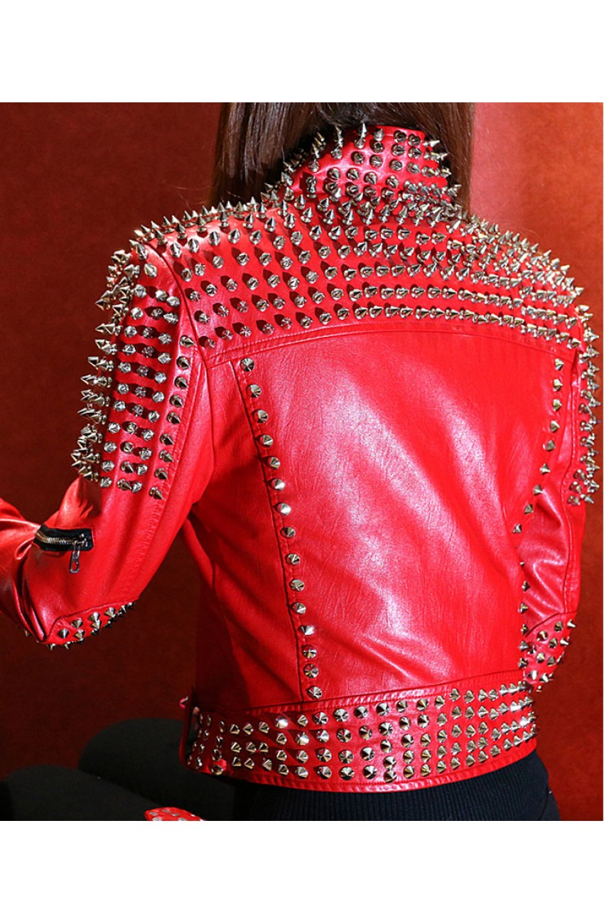 Red studded leather jacket