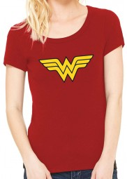 Yellow Logo Wonder Woman Red T-Shirt