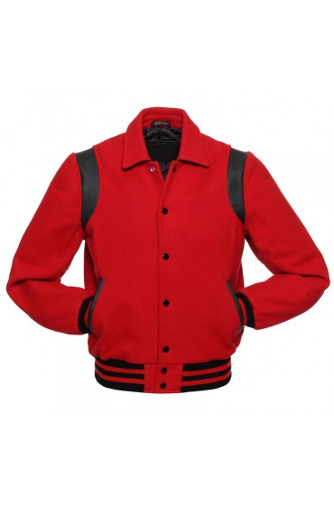 Men's Red Wool Varsity Jacket