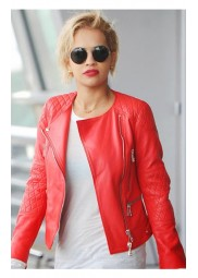 Rita Ora Red Leather Jacket