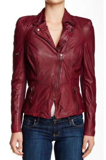 Rosie Huntington Whiteley Red Leather Jacket