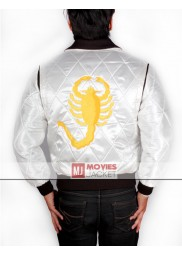 Ryan Gosling White Satin Drive Scorpion Jacket