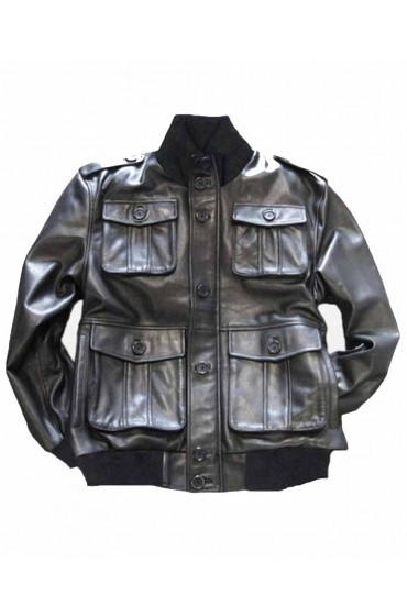 Safari Military Leather Bomber Jacket Men