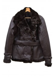 Sheepskin Leather Belted Jacket For Women