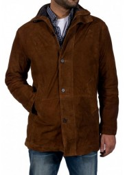 Brown Suede Leather Sheriff Walt Longmire Coat