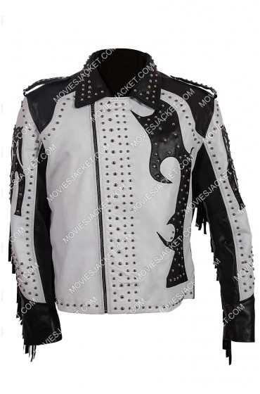 Silver Studded Asymmetrical Leather Jacket