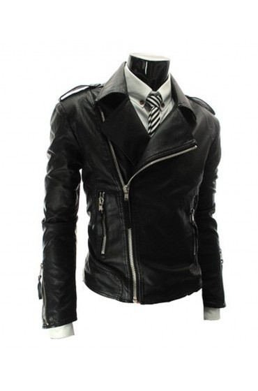 Men's Asymmetrical Zipper Moto Style Slim Fit Black Leather Jacket