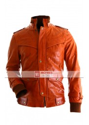 Vintage Orange Slim Fit Bomber Leather Jacket