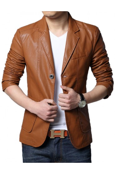 Men's Slim Fit Tan Brown Leather Blazer