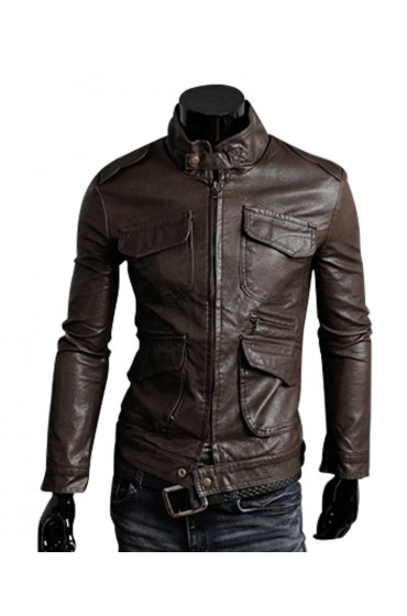 Men's Slim Fit Chocolate Brown Leather Jacket