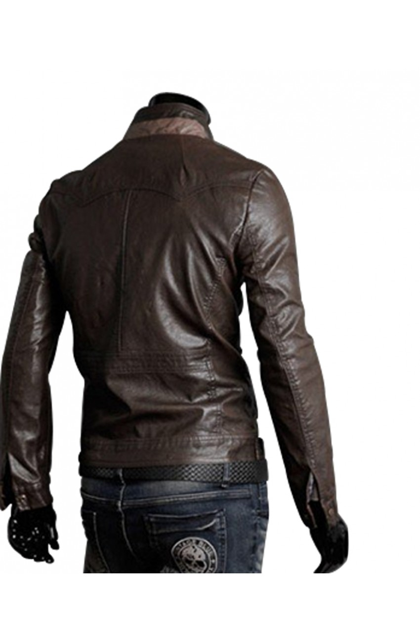 Fitted brown leather jacket