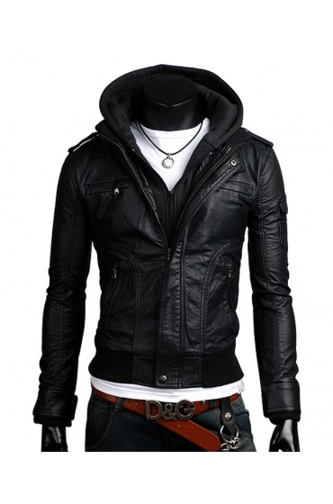 Slim Fit Black Leather Jacket With Hoodie for Men