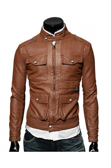Men's Multi Pockets Slim Fit Brown Faux Leather Jacket