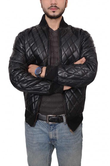 Men's New Design Slim Fit Black Leather Quilted Jacket