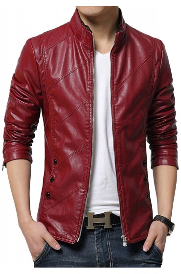 Casual Style Men's Slim Fit Red Faux Leather Jacket