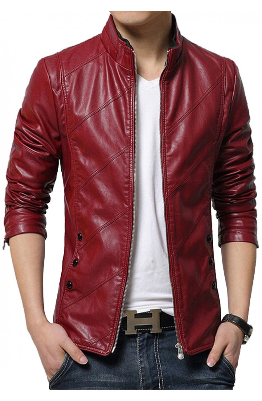 Slim Fit Red Leather Jacket Men S Faux Leather Red Casual Style
