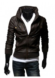 Men's Slim Fit Stand Collar Dark Brown Leather Jacket