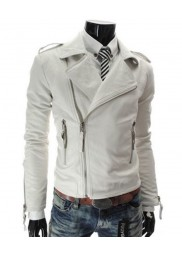 Men's Biker Style Asymmetrical Zipper Slim Fit White Leather Jacket